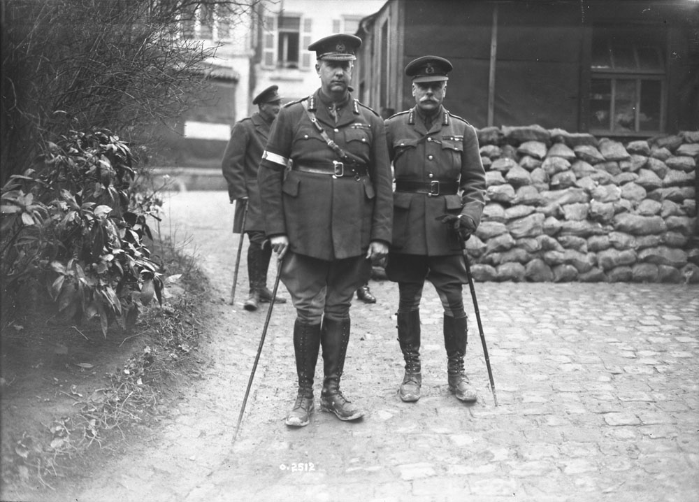 General Sir Arthur Currie with Field Marshal Sir Douglas Haig, February, 1918.