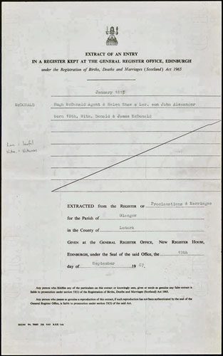 John A. Macdonald, birth record