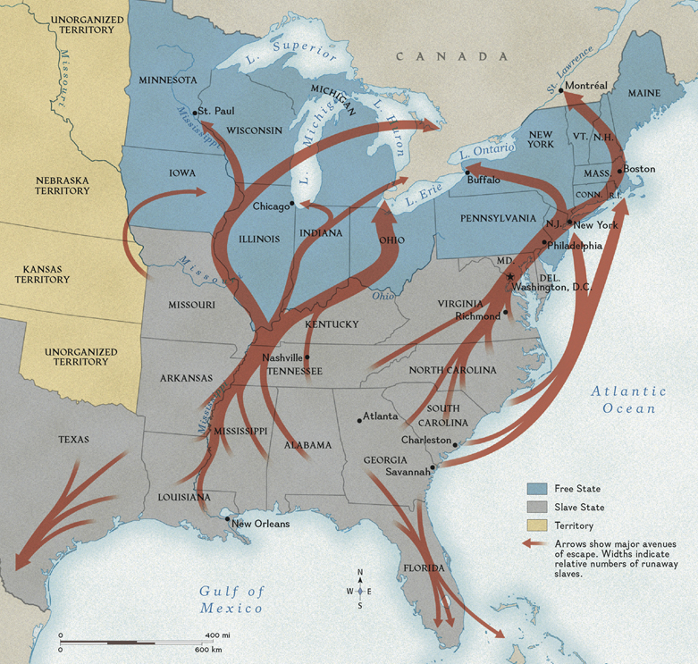 Map of the Underground Railroad in the United States.