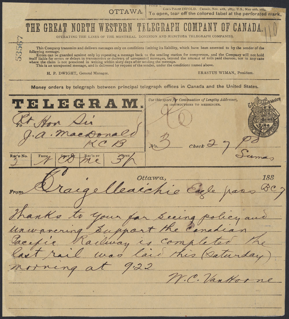 Telegram to Prime Minister Sir John A. Macdonald