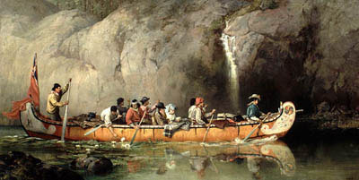 Canoe Manned by Voyageurs Passing a Waterfall