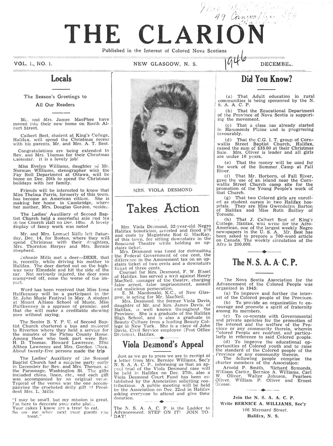 Viola Desmond dans le journal « The Clarion »