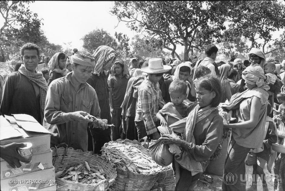 Cambodian refugees receive food rations in Thailand, 1979