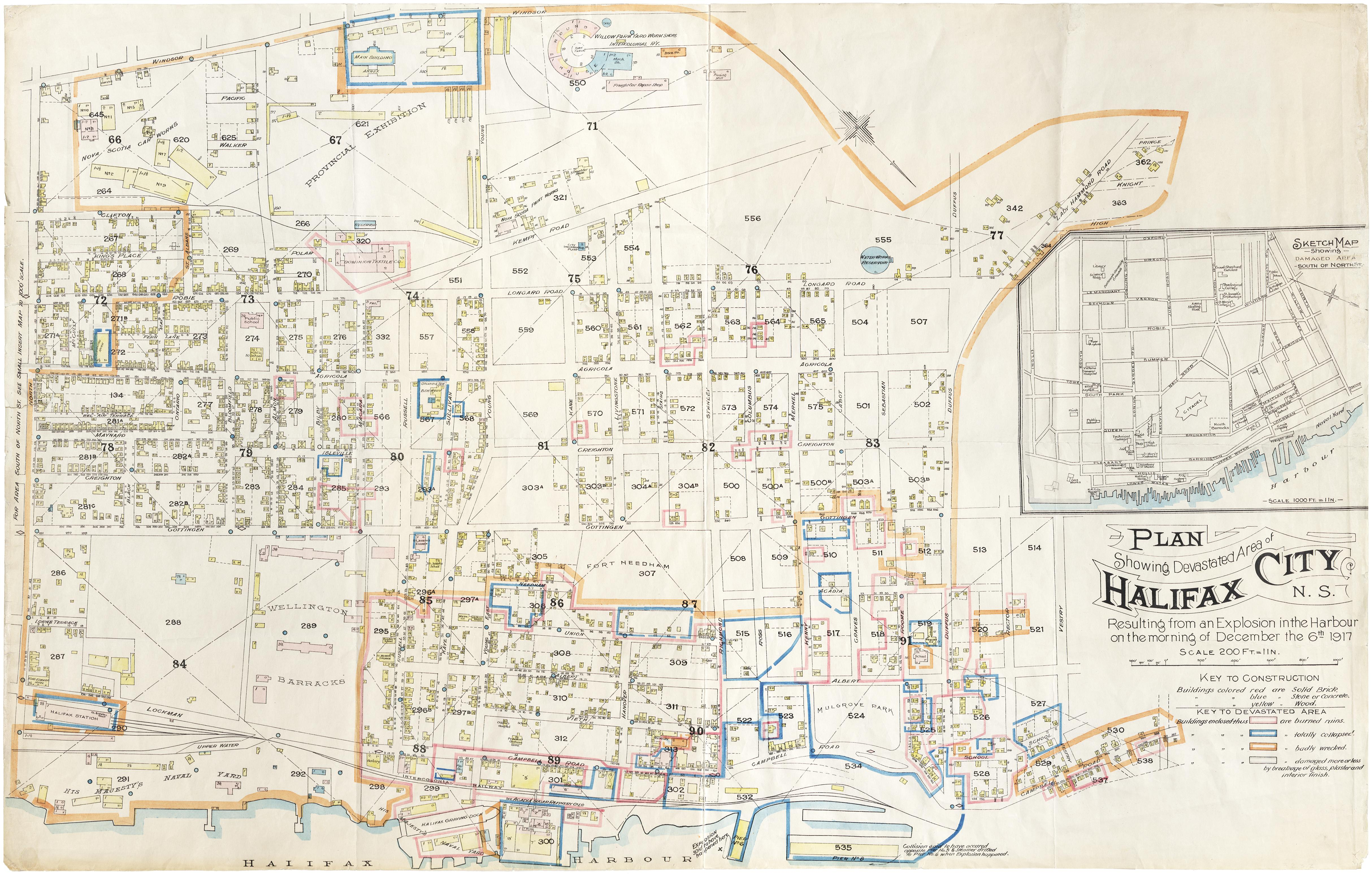 """Plan showing devastated area of Halifax City, N.S."""