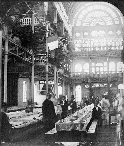 Interior of the Montreal Crystal Palace decorated for the St. Jean Baptiste Day, 1874