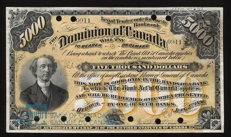 Front of the ,000 Note (Dominion of Canada)