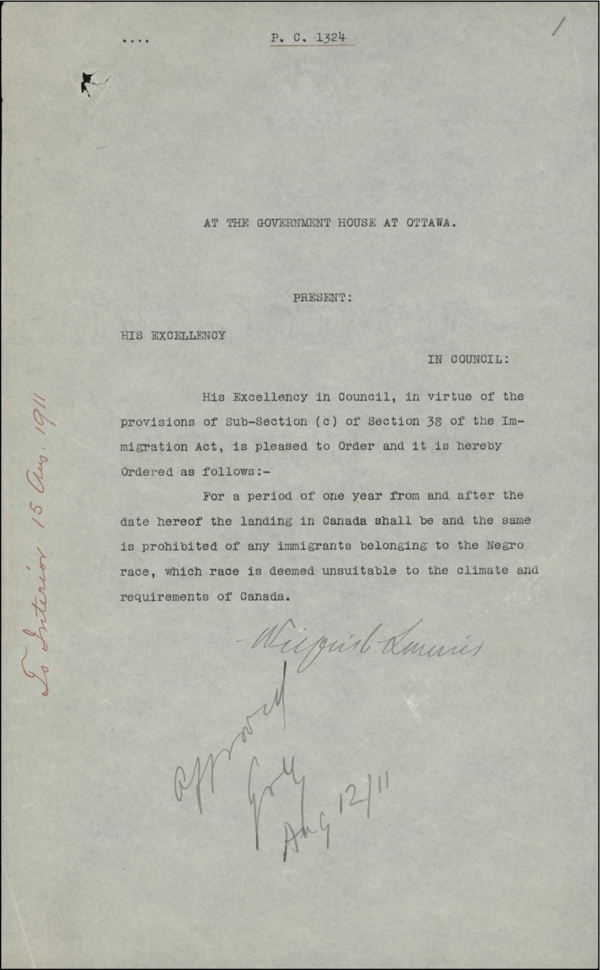 Order-in-Council P.C. 1911-1324 — the Proposed Ban on Black Immigration to Canada