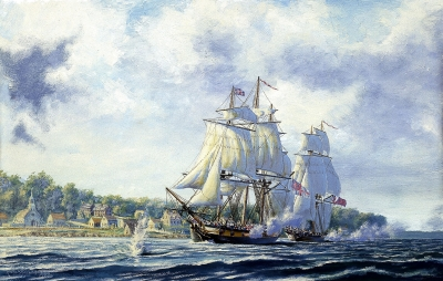 """Bombardment of Fort Detroit, 1812"", Rindlisbacher"