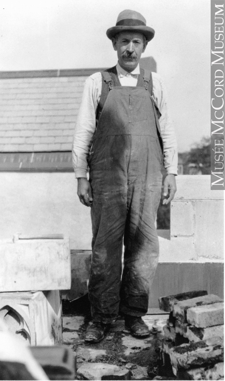 A mason working in Montreal, QC, ca. 1935.