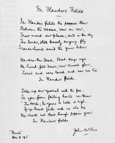 Manuscrit de In Flanders Fields