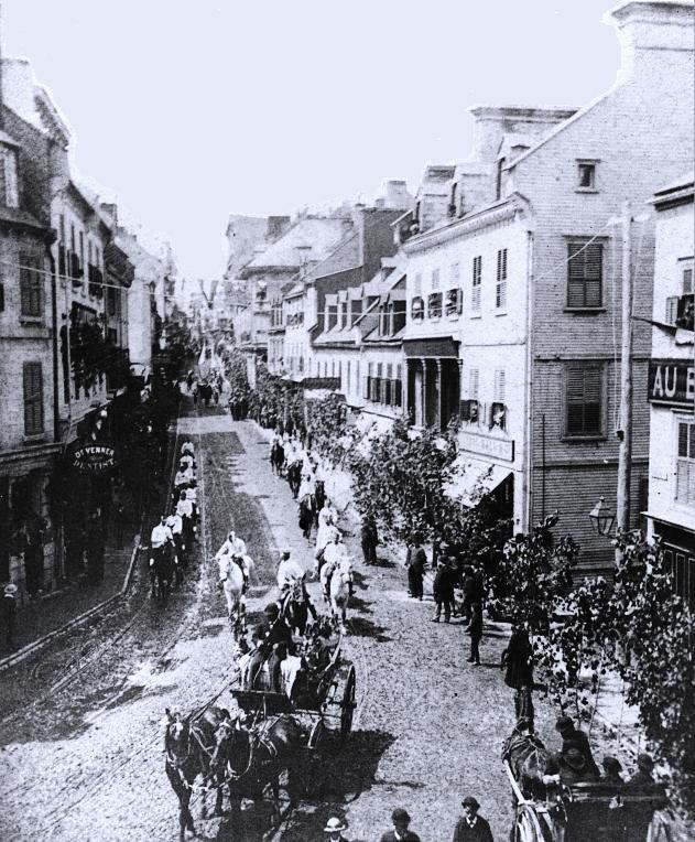 Parade, St. Jean Baptiste day, Quebec City, QC, about 1880