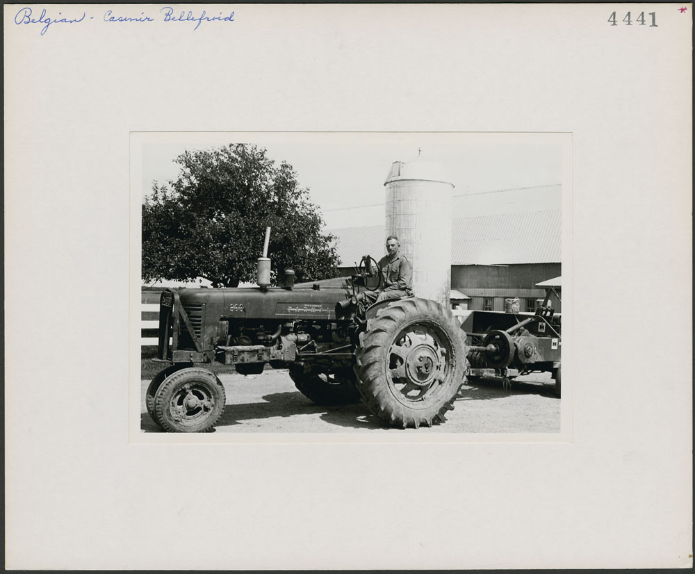 Casimir Bellefroid on a tractor at his farm in Pike River, Missiquoi County, Quebec.