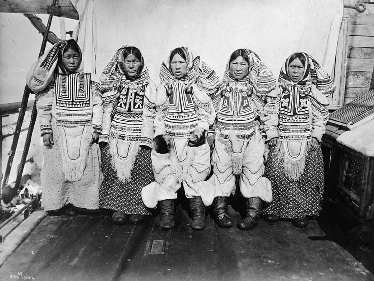 Inuit women in gala dress