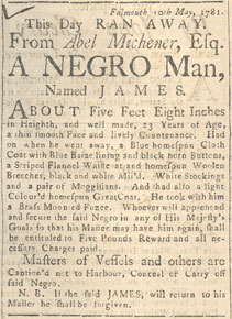 "Runaway Slave Advertisement for ""James"""