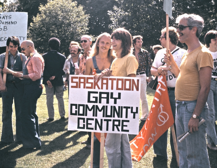 Pride March at Allan Gardens in Toronto, 1974. \u00a9 Jearld Moldenhauer.