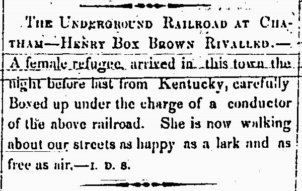 Clipping from The Provincial Freeman Newspaper, ca. 1850