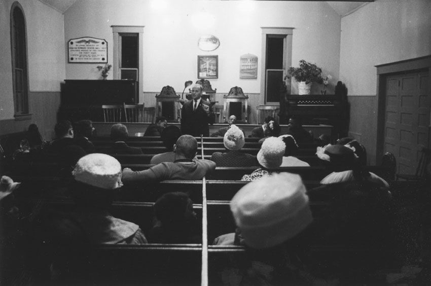 Meeting in Seaview African United Baptist Church with Human Rights activist Alan Borovoy and residents of Africville, in July, 1962.
