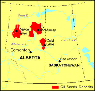 Map of the oil sands