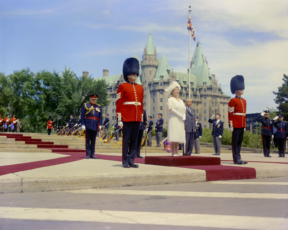 Queen Elizabeth visiting the National War Memorial in Ottawa, ca. 1943-1965.