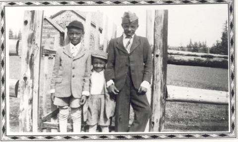 Arrel and Leon Jamerson with a friend in Amber Valley, Alberta, circa 1940