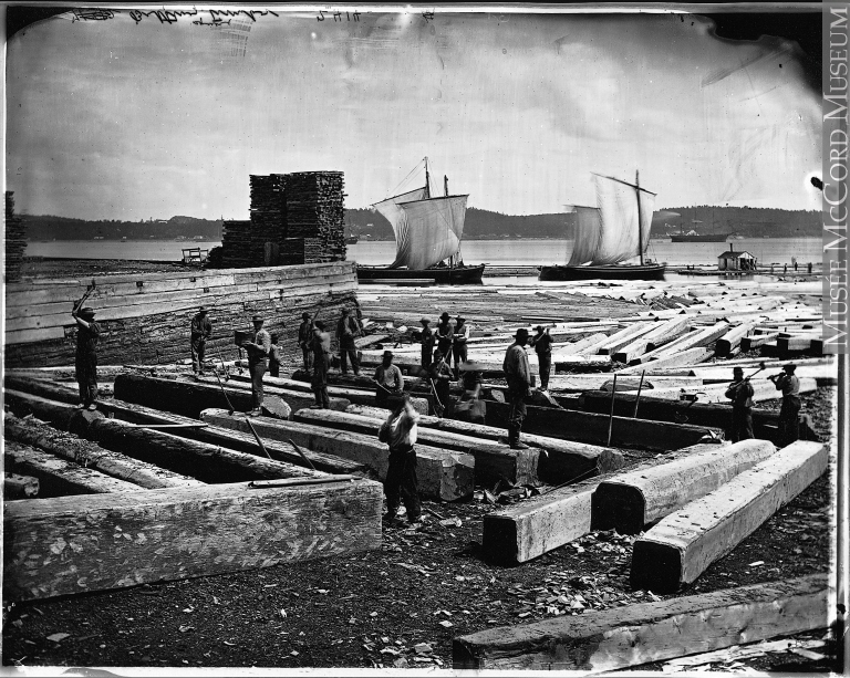 Working with timber in Quebec City, 1872.