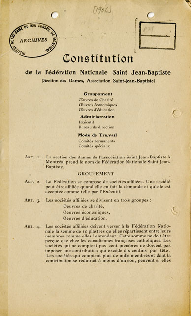 By-laws of the Fédération Nationale Saint-Jean-Baptiste, 1906