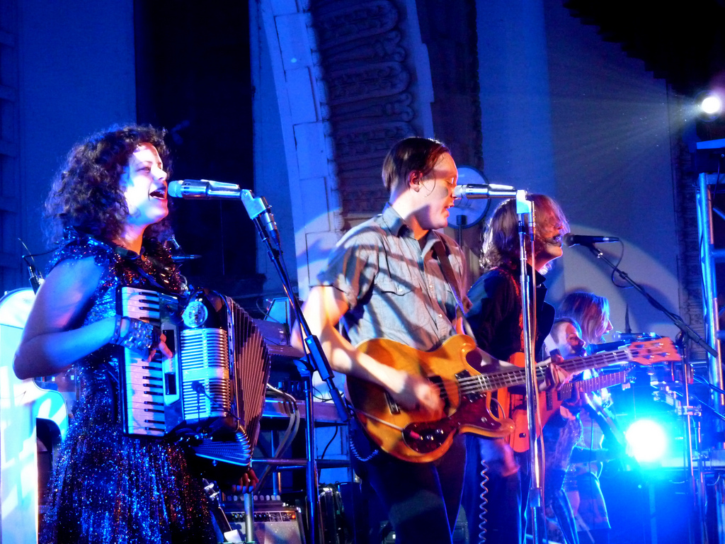 Arcade Fire performing in Los Angeles, 2011.