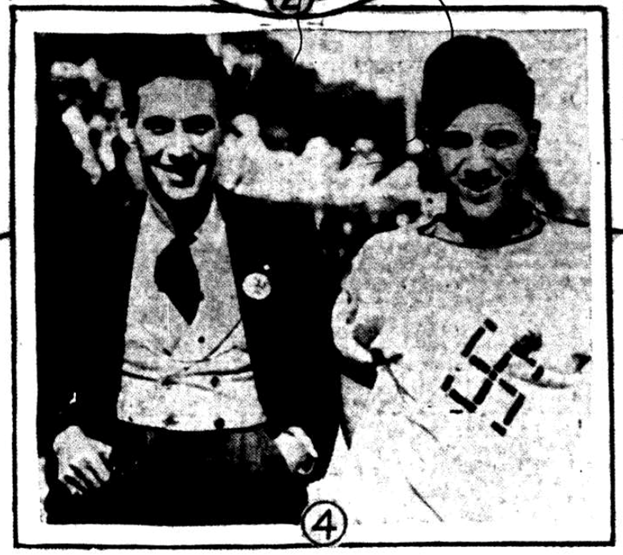 Photograph of two individuals displaying swastikas, August 1933