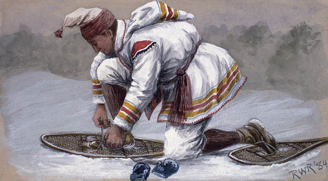 Man strapping on snowshoes (1884)