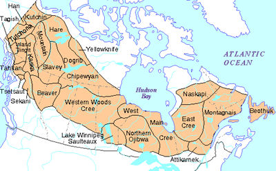 Indigenous People Subarctic The Canadian Encyclopedia - Map of us and canada indiginous popullationns