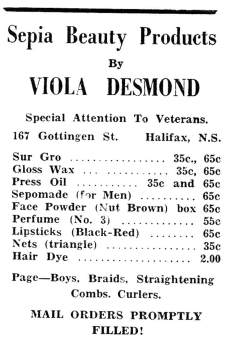 Sepia Beauty Products by Viola Desmond