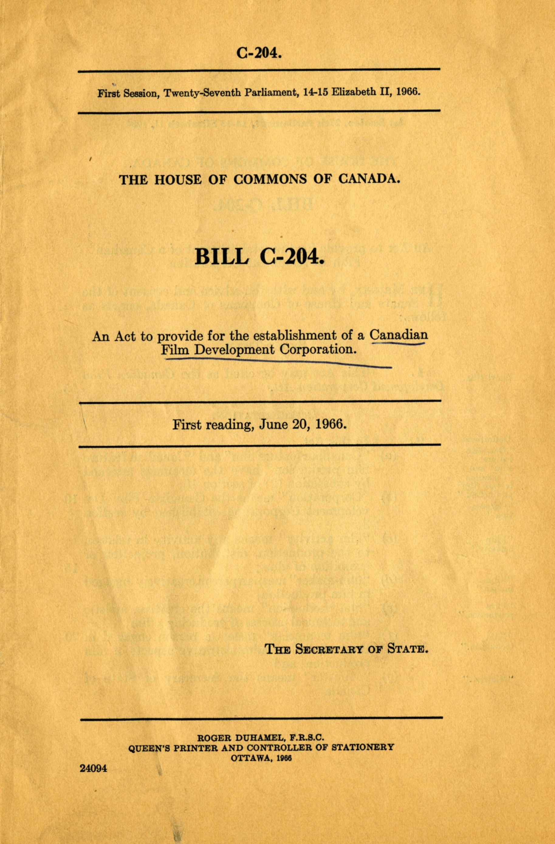 The White Paper for the establishment of the Canadian Film Development Corporation