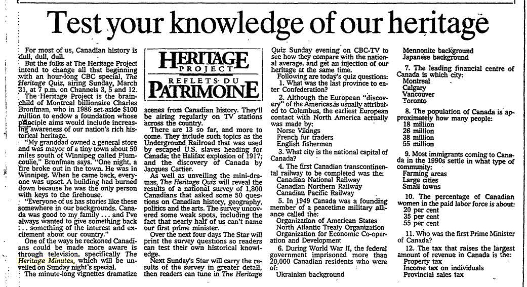 "Toronto Star ""Test your knowledge of our heritage"" article"
