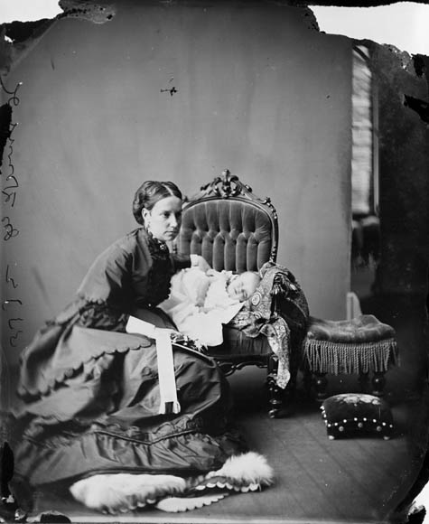 Lady Susan Agnes Macdonald, wife of Sir John A. Macdonald, with infant daughter Mary, June 1869