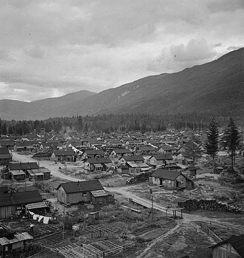An internment camp for Japanese Canadians in British Columbia, 1945.