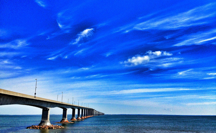 The Confederation bridge as seen from Borden, P.E.I., 2013.