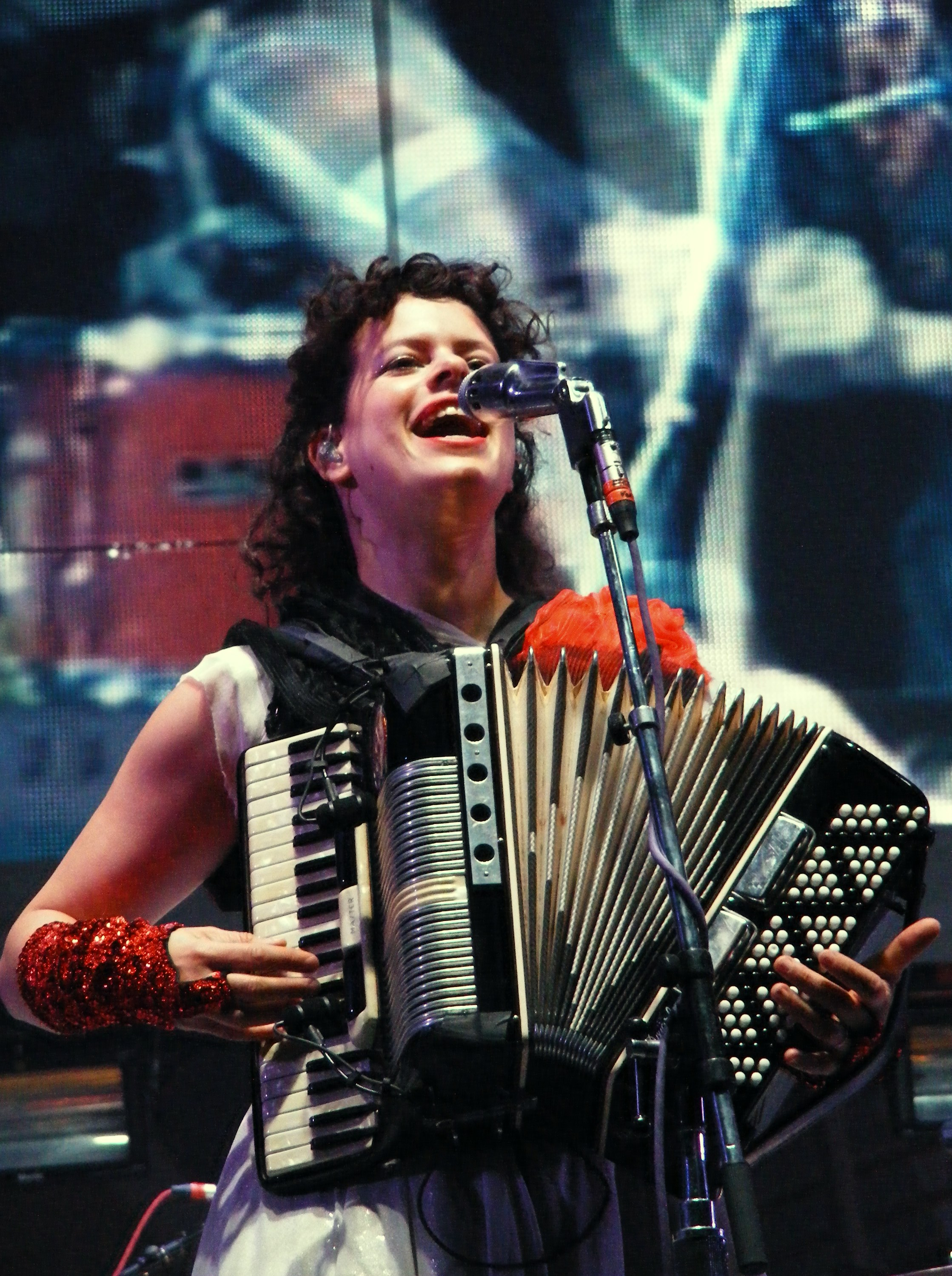 Regine Chassagne of Arcade Fire, performing in Manchester, 2010.