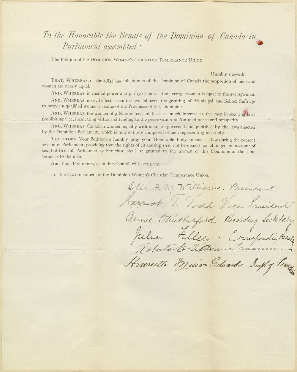 Suffrage Petition to the Senate