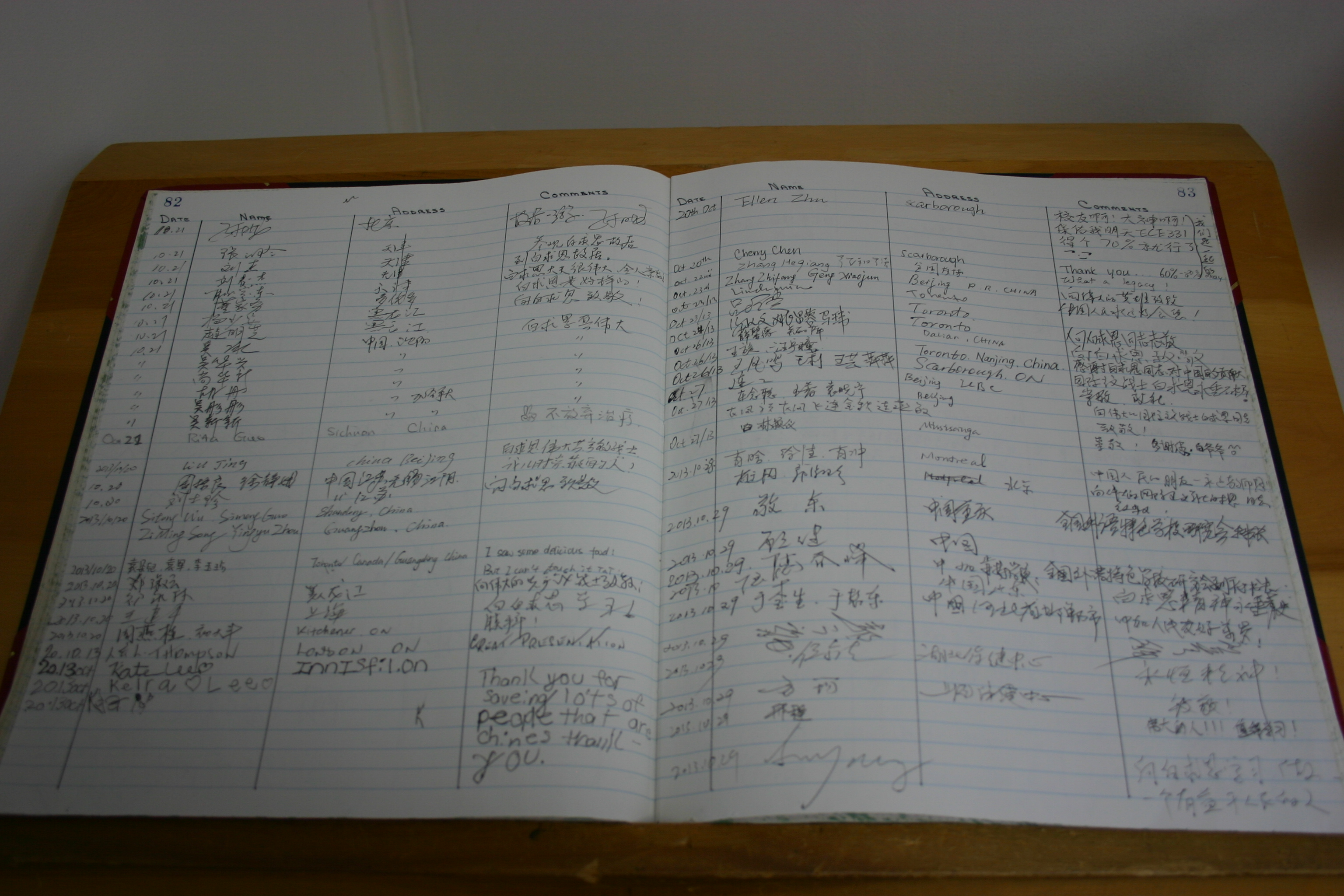 Bethune Centre Guest Book
