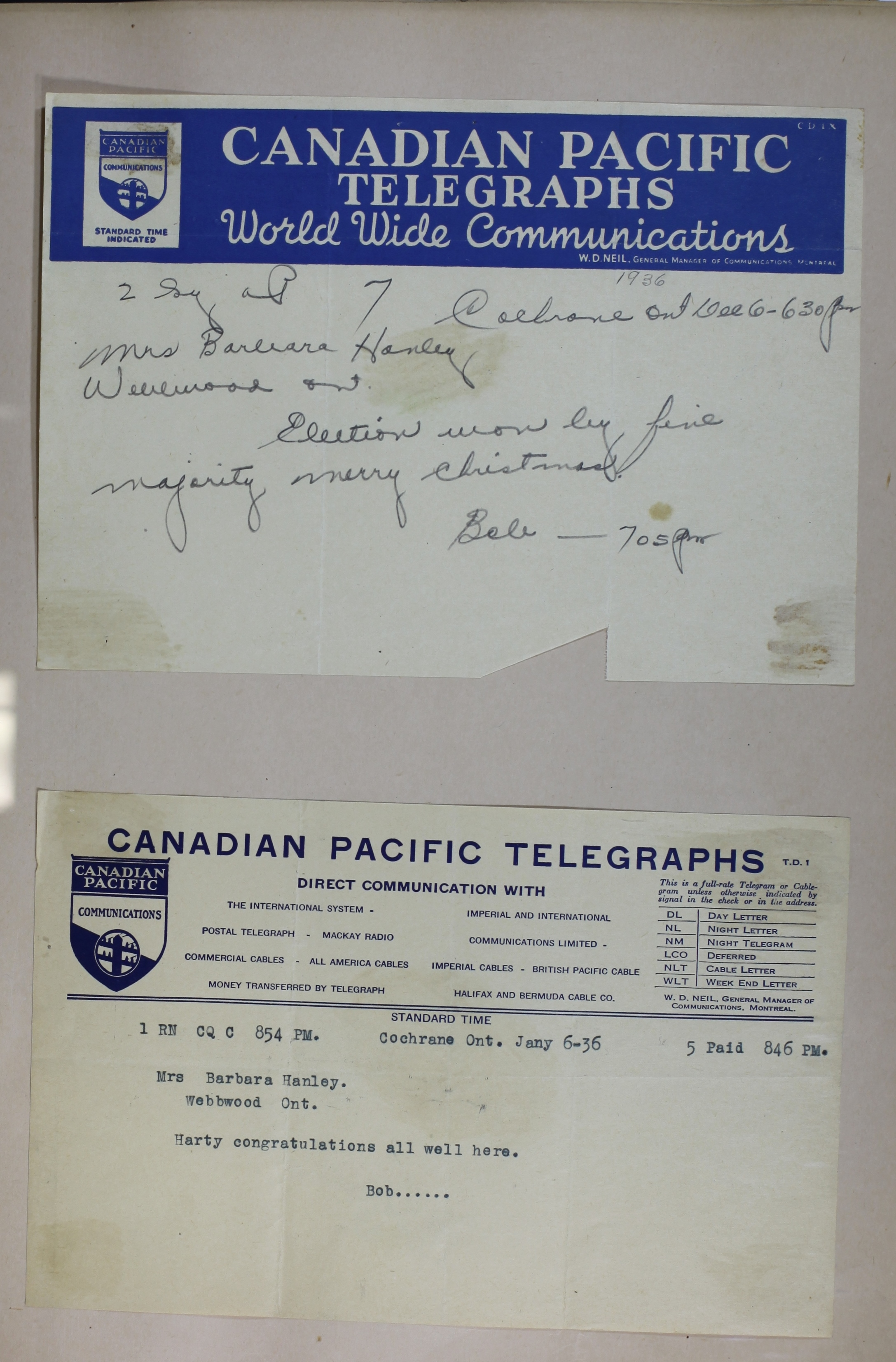 Congratulatory telegram from Hanley\u2019s brother, Robert Smith, 6 January 1936.