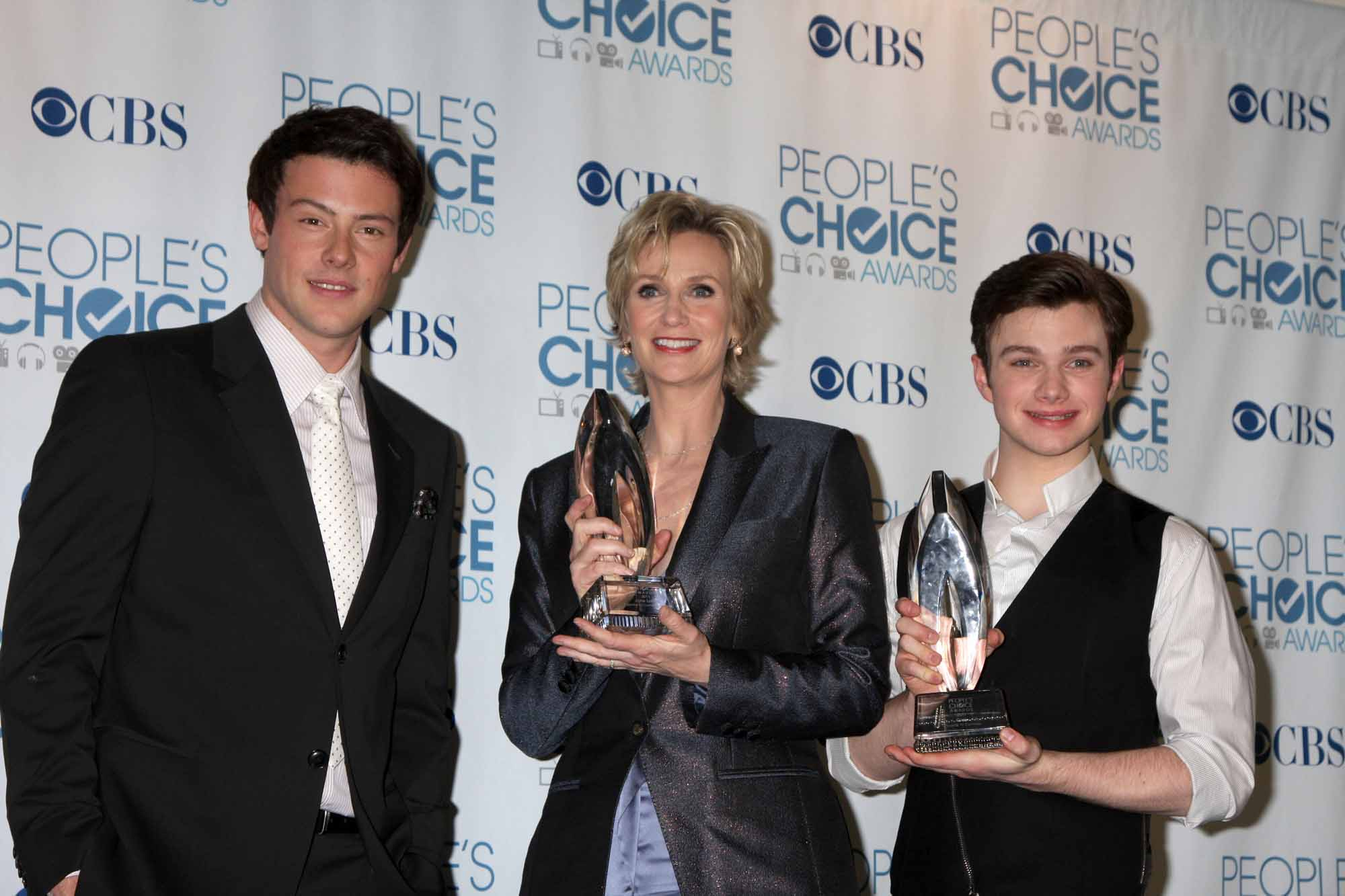 Cory Monteith, Jane Lynch and Chris Colfer