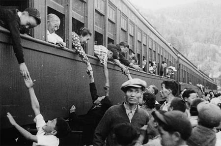 Japanese Canadians being relocated in British Columbia, 1942.