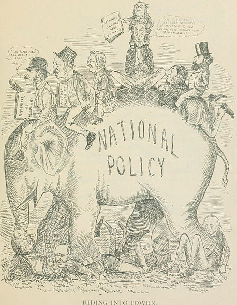 Sir John A. Macdonald political cartoon by John Wilson Bengough.