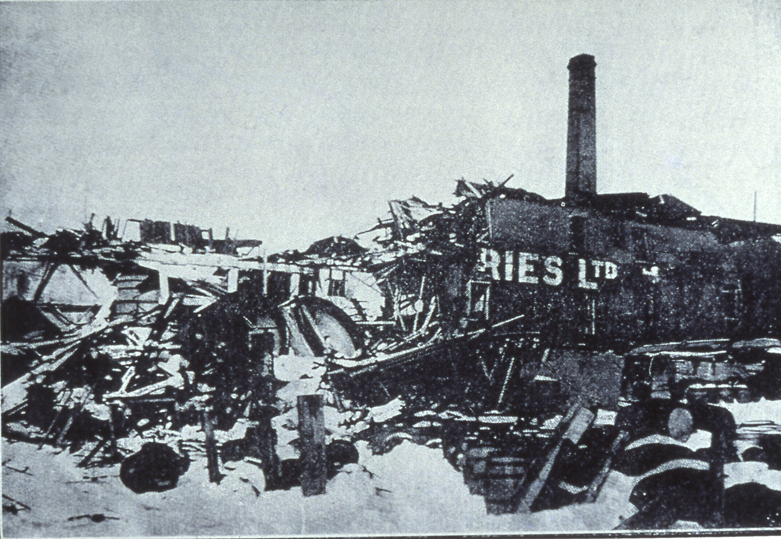 The Oland brewery after the Halifax explosion, 1917.