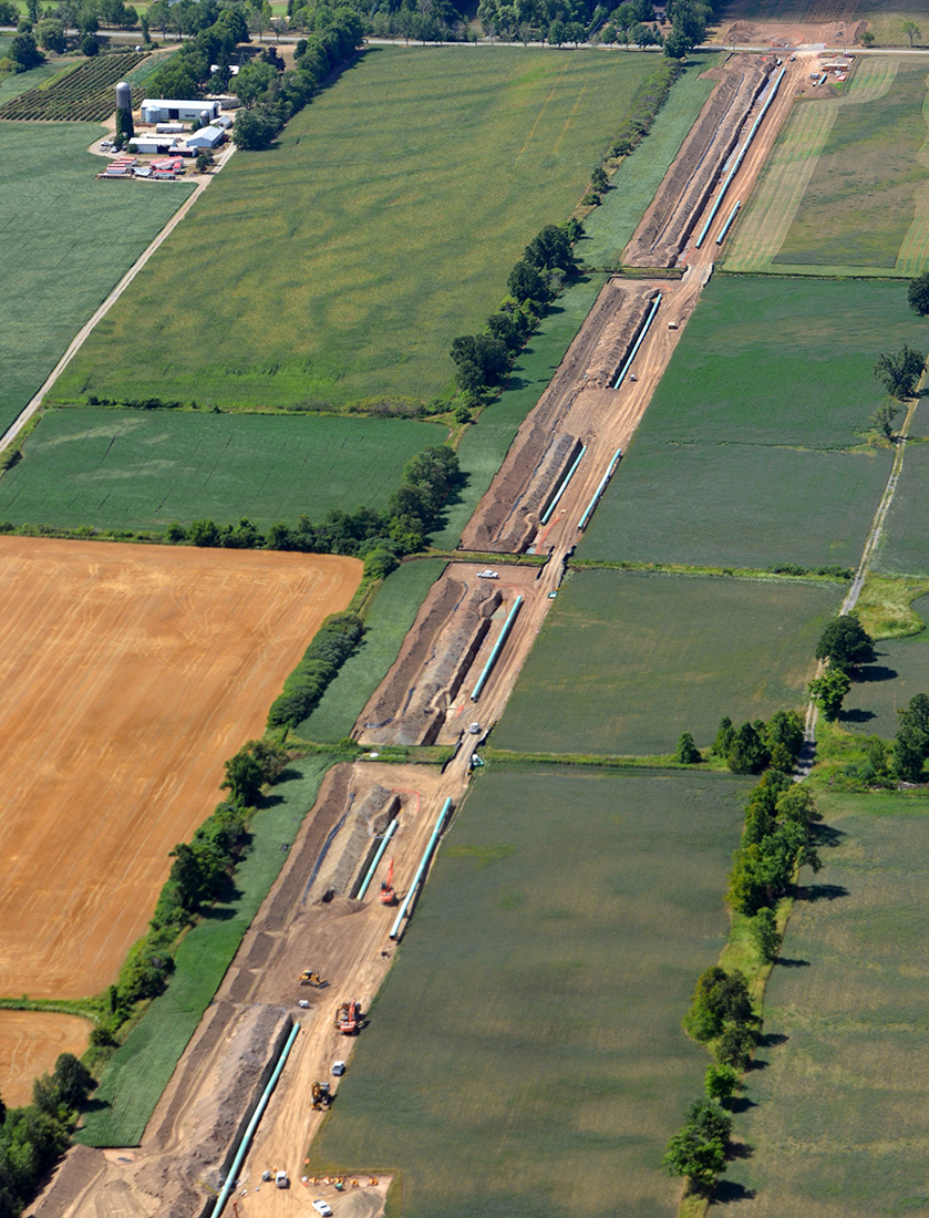 Aerial view of pipeline construction
