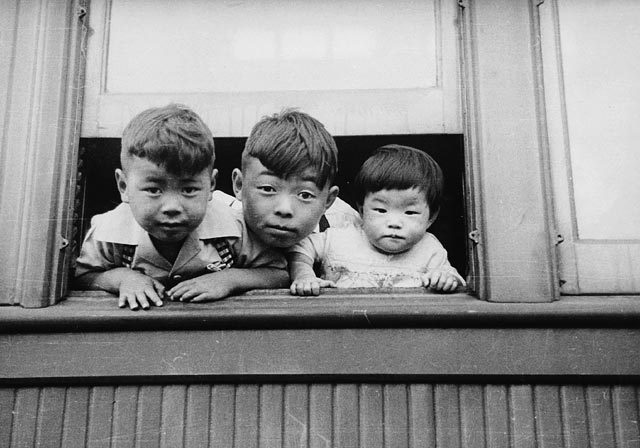 Young Japanese Canadians being relocated in British Columbia, 1942.