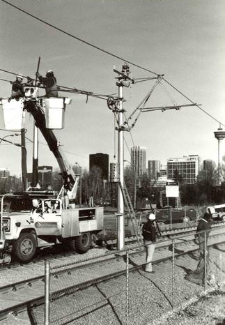 Construction of LRT, CTrain, Calgary, 1981