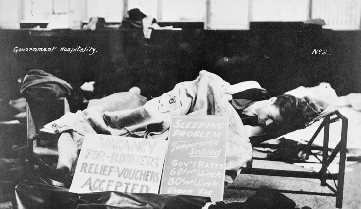 A man sleeping on a cot during the Depression.
