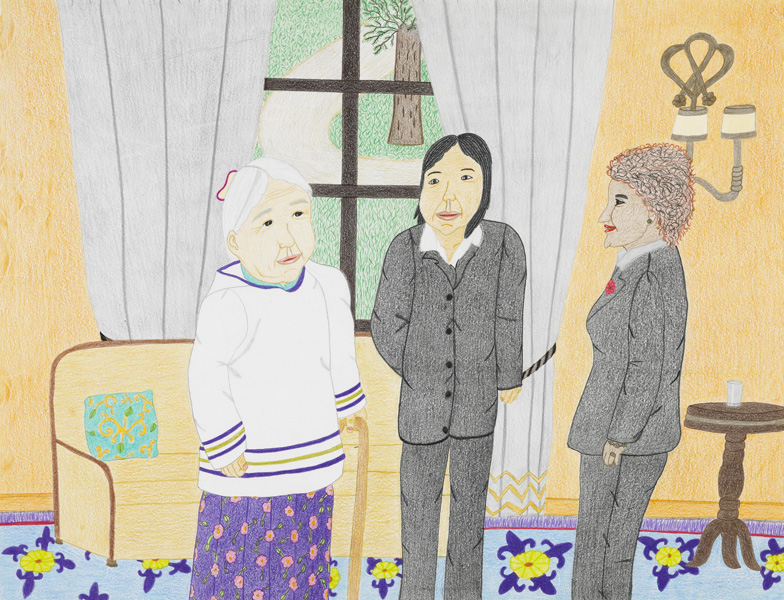 Annie Pootoogook, Untitled (Kenojuak and Annie with Governor General Micha\u00eblle Jean), 2010.