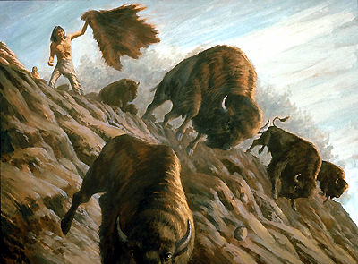 Bison Hunt, Over the Jump